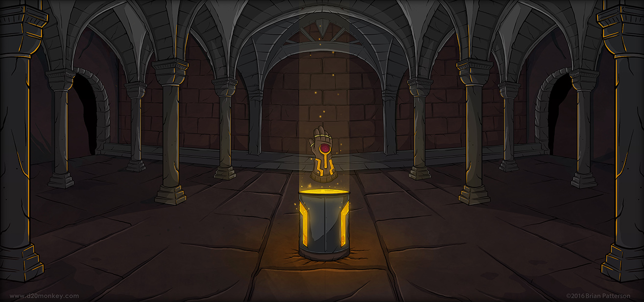 An empty chamber with a metal pedestal glowing with magma and a wicked looking gauntlet? NOTHING CAN GO WRONG!